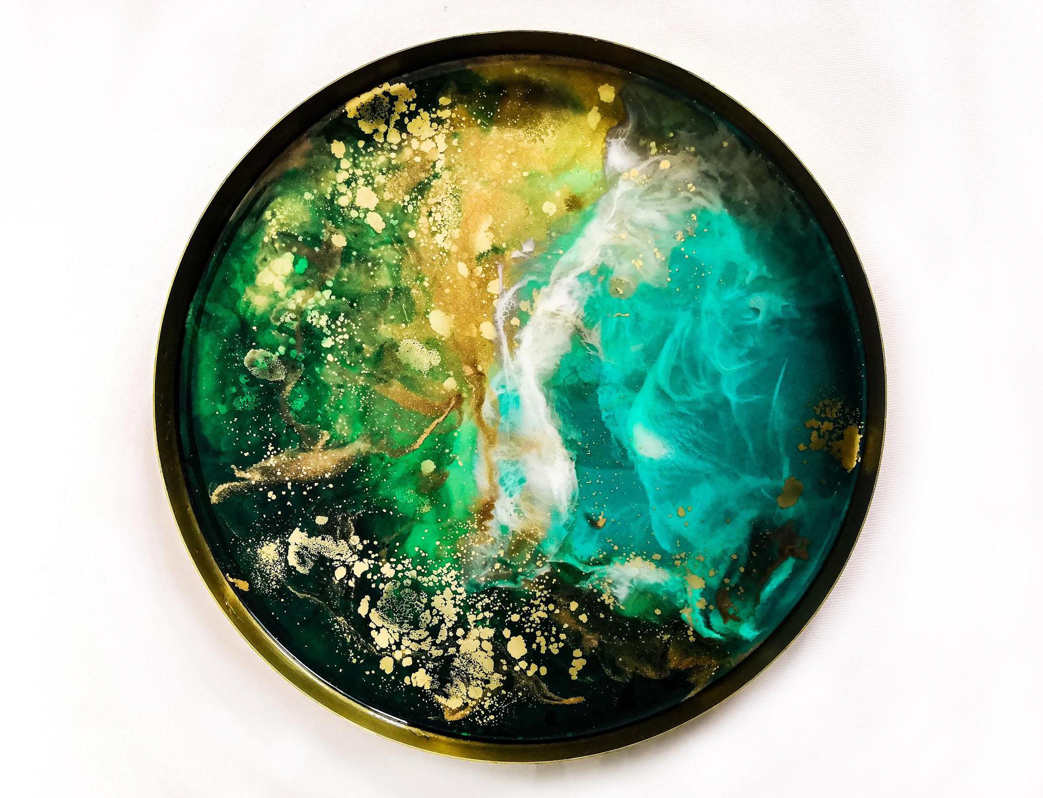 Marley Art Gold Circle Tray