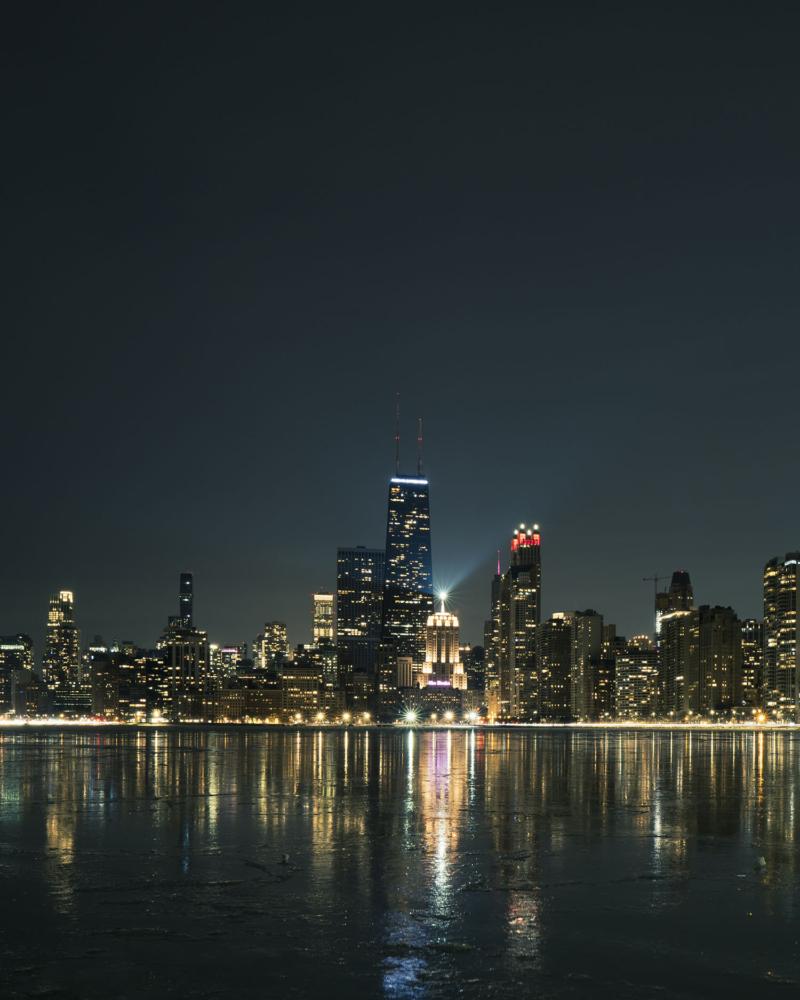 Chicago at night north beach